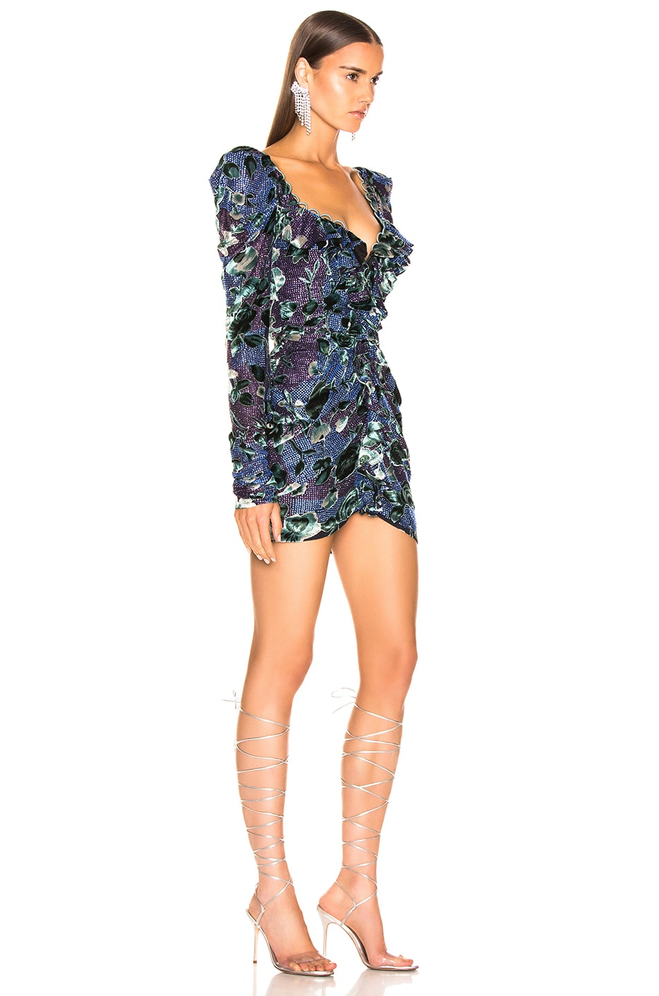 Image 2 of RAISA&VANESSA Strass Embellished Ruffled Mini Dress in Floral