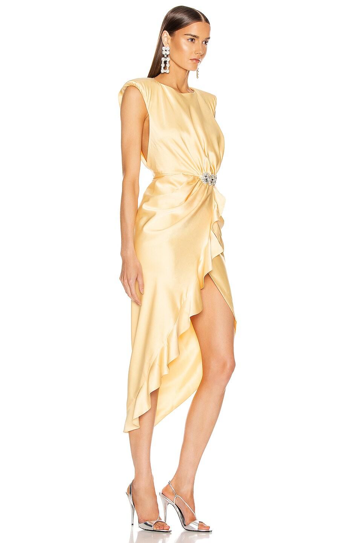 Image 2 of RAISA&VANESSA Satin Stone Buckle Midi Dress in Light Yellow
