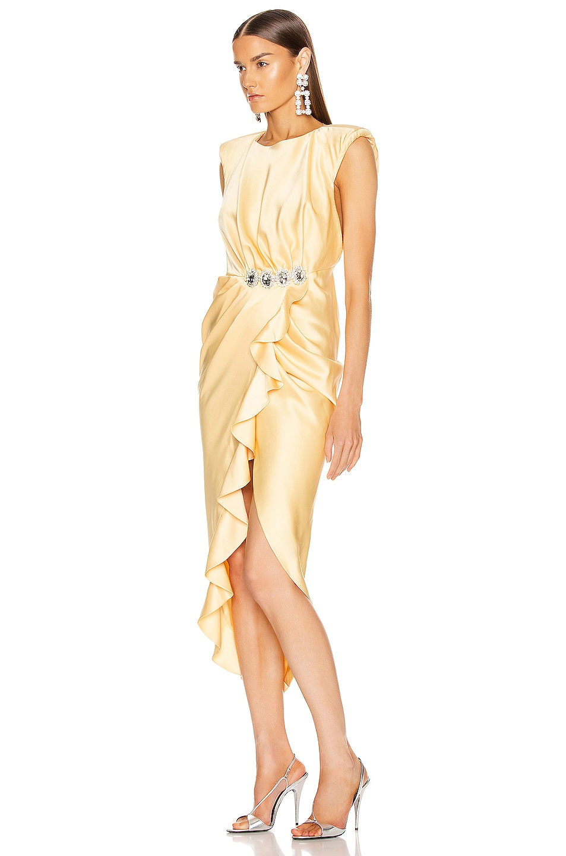 Image 3 of RAISA&VANESSA Satin Stone Buckle Midi Dress in Light Yellow