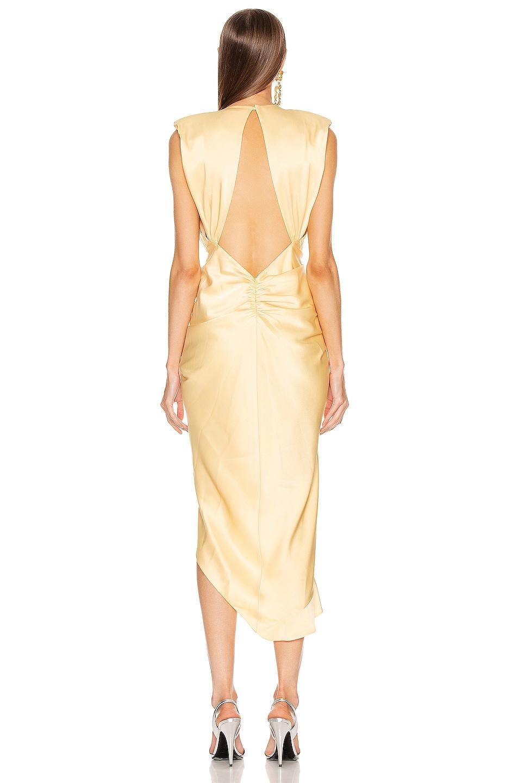 Image 4 of RAISA&VANESSA Satin Stone Buckle Midi Dress in Light Yellow