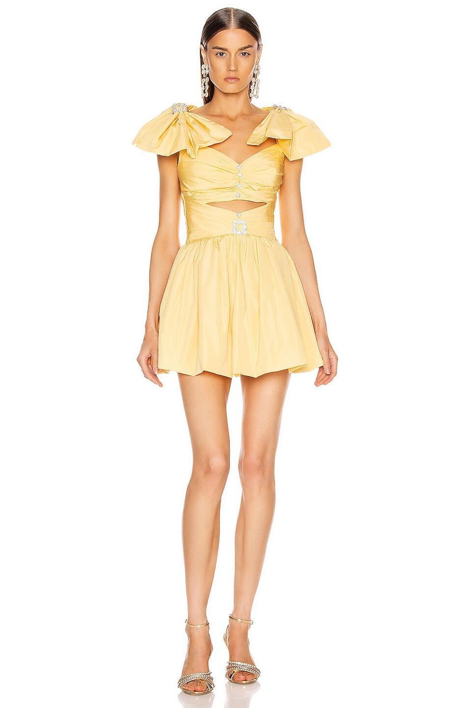 Image 1 of RAISA&VANESSA Ribbon Shoulder Mini Dress in Yellow