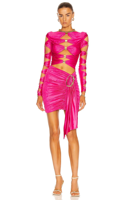 Image 1 of RAISA&VANESSA Draped Cutout Mini Dress in Fuchsia