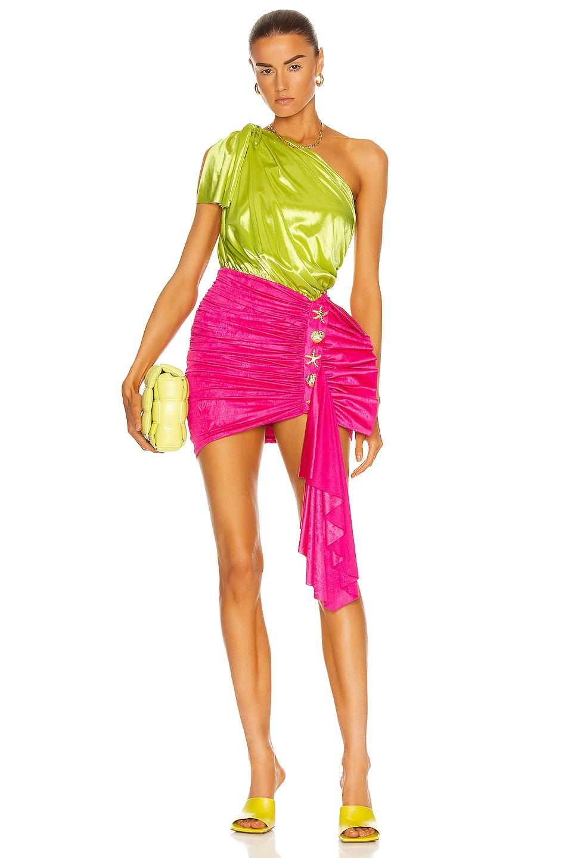 Image 1 of RAISA&VANESSA One Shoulder Ruched Mini Dress in Fuchsia & Pistachio Green