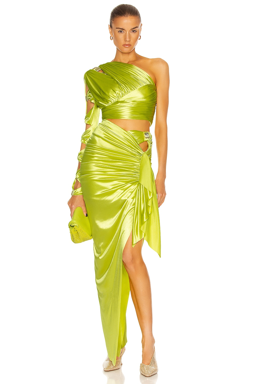 Image 1 of RAISA&VANESSA One Shoulder Draped Midi Dress in Pistachio Green