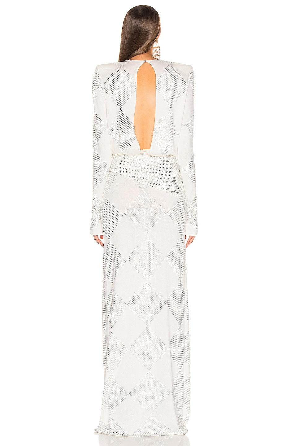Image 4 of RAISA&VANESSA Strass Embelished Maxi Dress in White