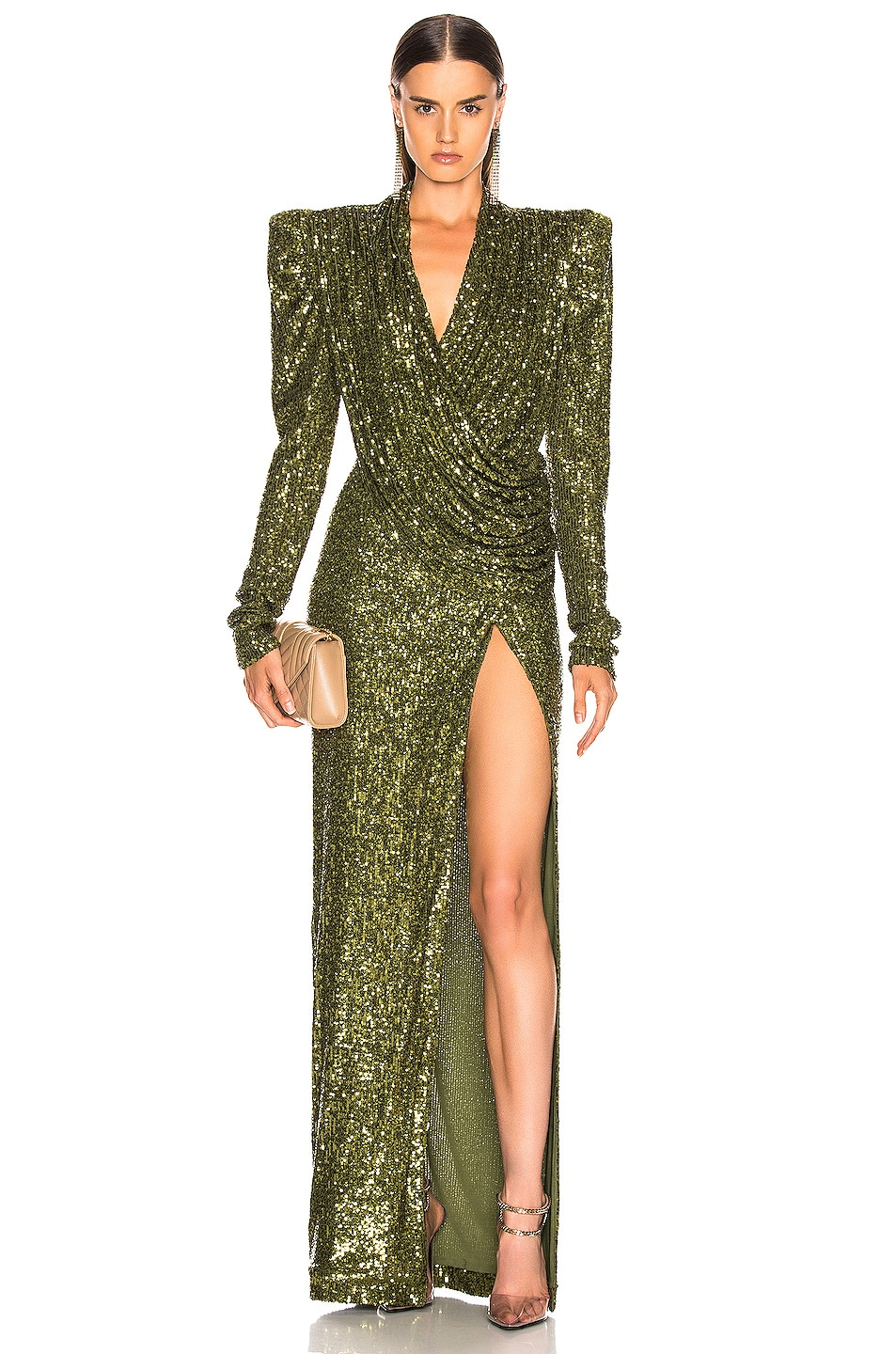 Image 1 of RAISA&VANESSA Sequined Wrap Maxi Dress in Khaki Green