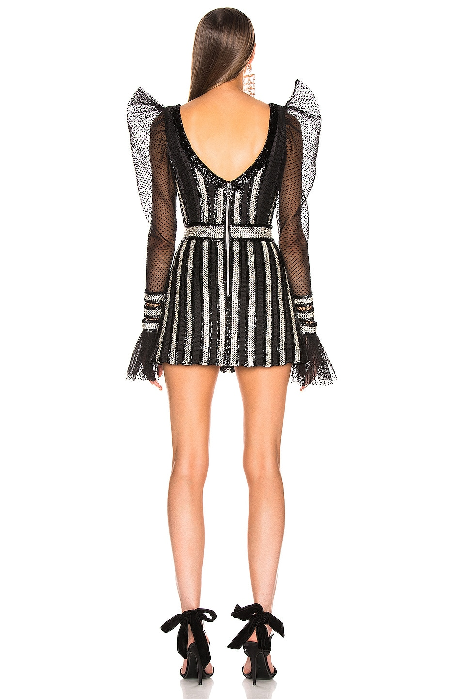 Image 3 of RAISA&VANESSA Embroidered Mini Dress in Black