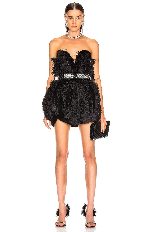 Image 1 of RAISA&VANESSA Strapless Feather Mini Dress in Black