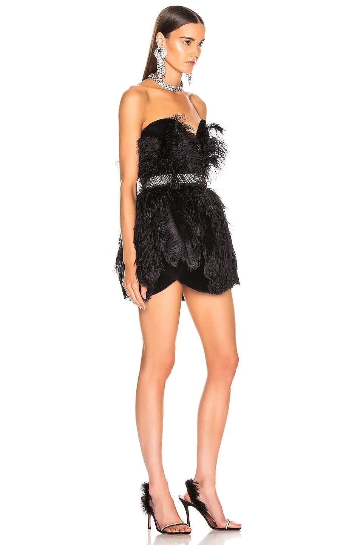 Image 2 of RAISA&VANESSA Strapless Feather Mini Dress in Black