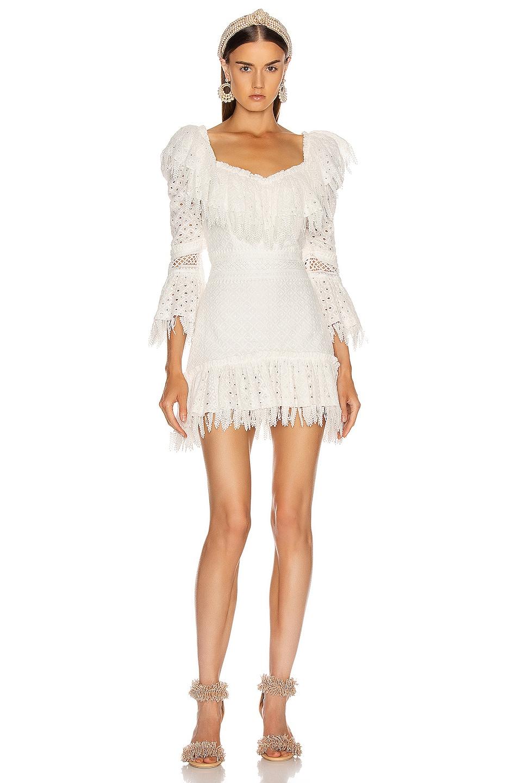 Image 1 of RAISA&VANESSA Ruffled Fringe Mini Dress in White