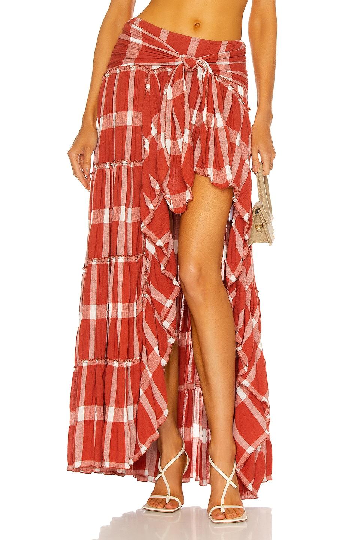 Image 1 of RAISA&VANESSA High Slit Plaid Maxi Skirt in Terracotta