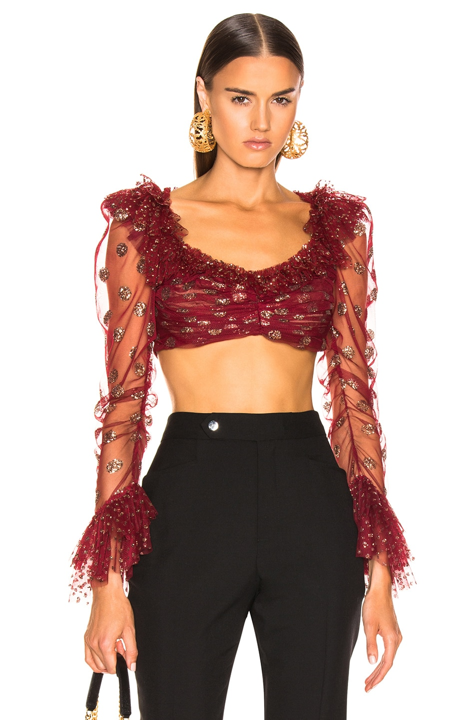 Image 1 of RAISA&VANESSA Glittered Ruffle Top in Bordeaux