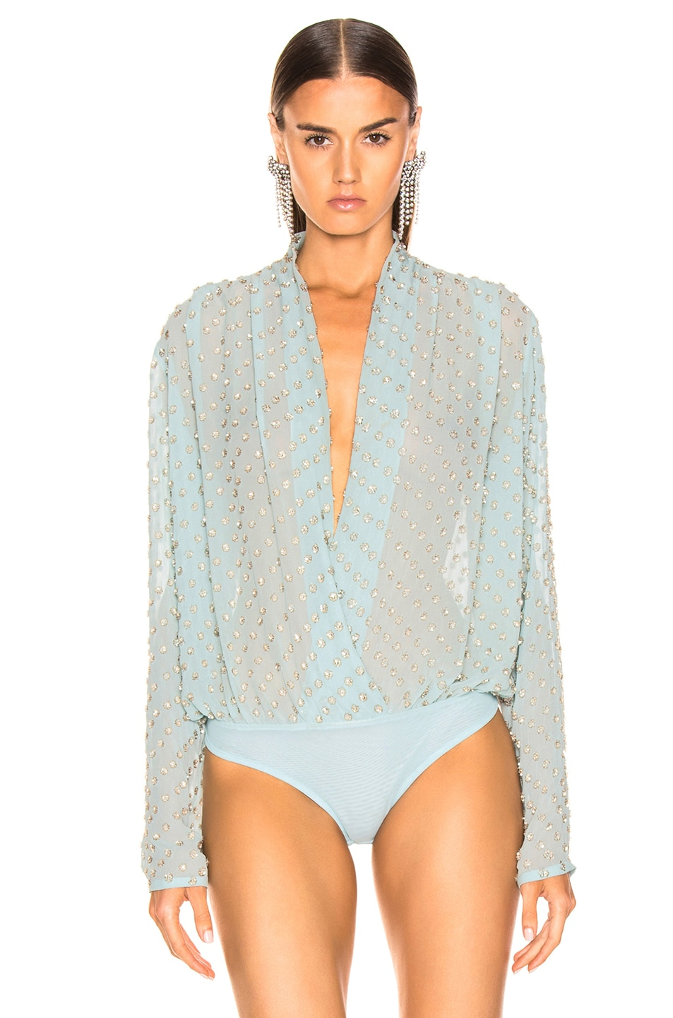 Image 2 of RAISA&VANESSA Embellished Wrap Bodysuit in Mint