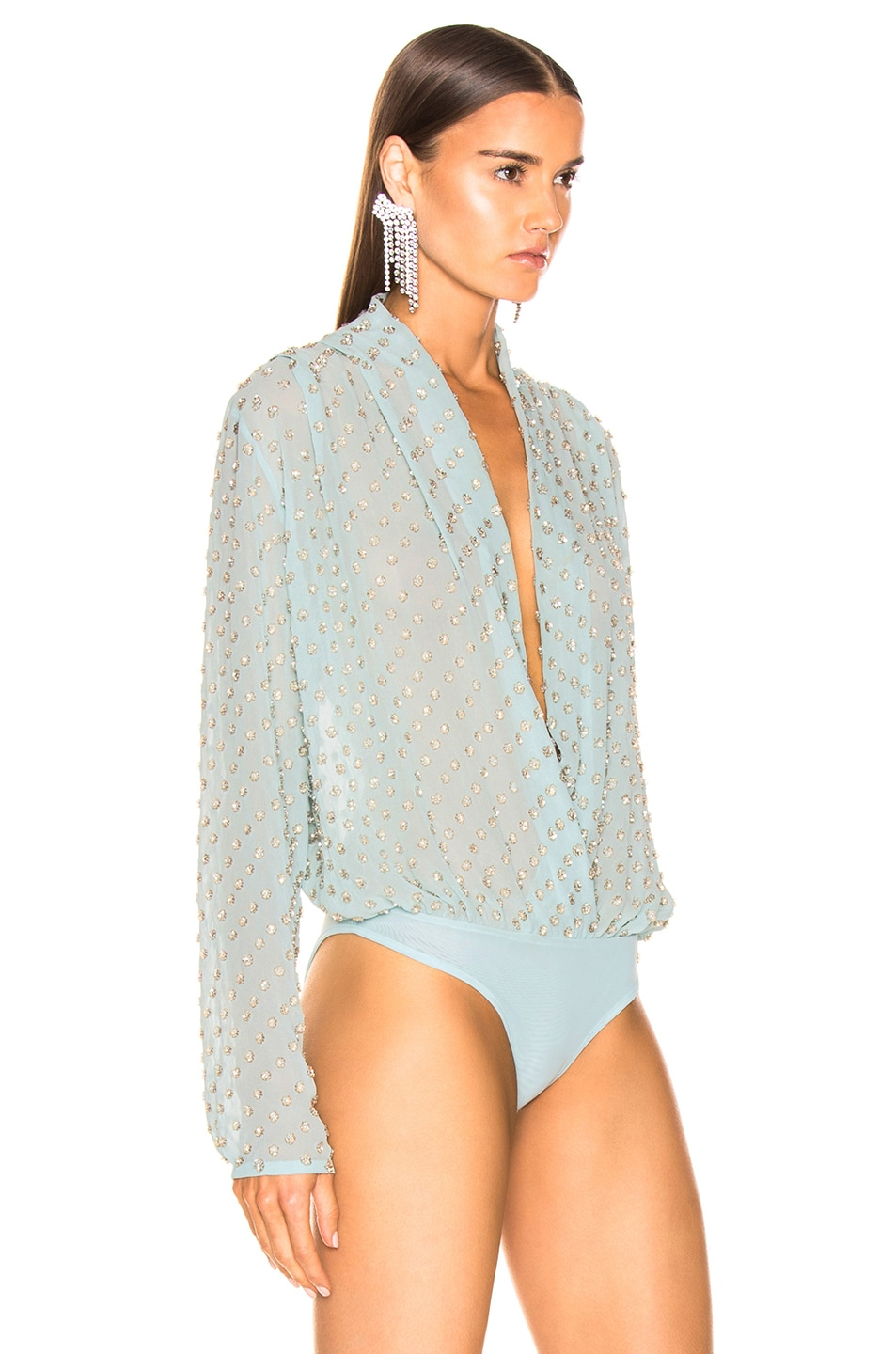 Image 3 of RAISA&VANESSA Embellished Wrap Bodysuit in Mint