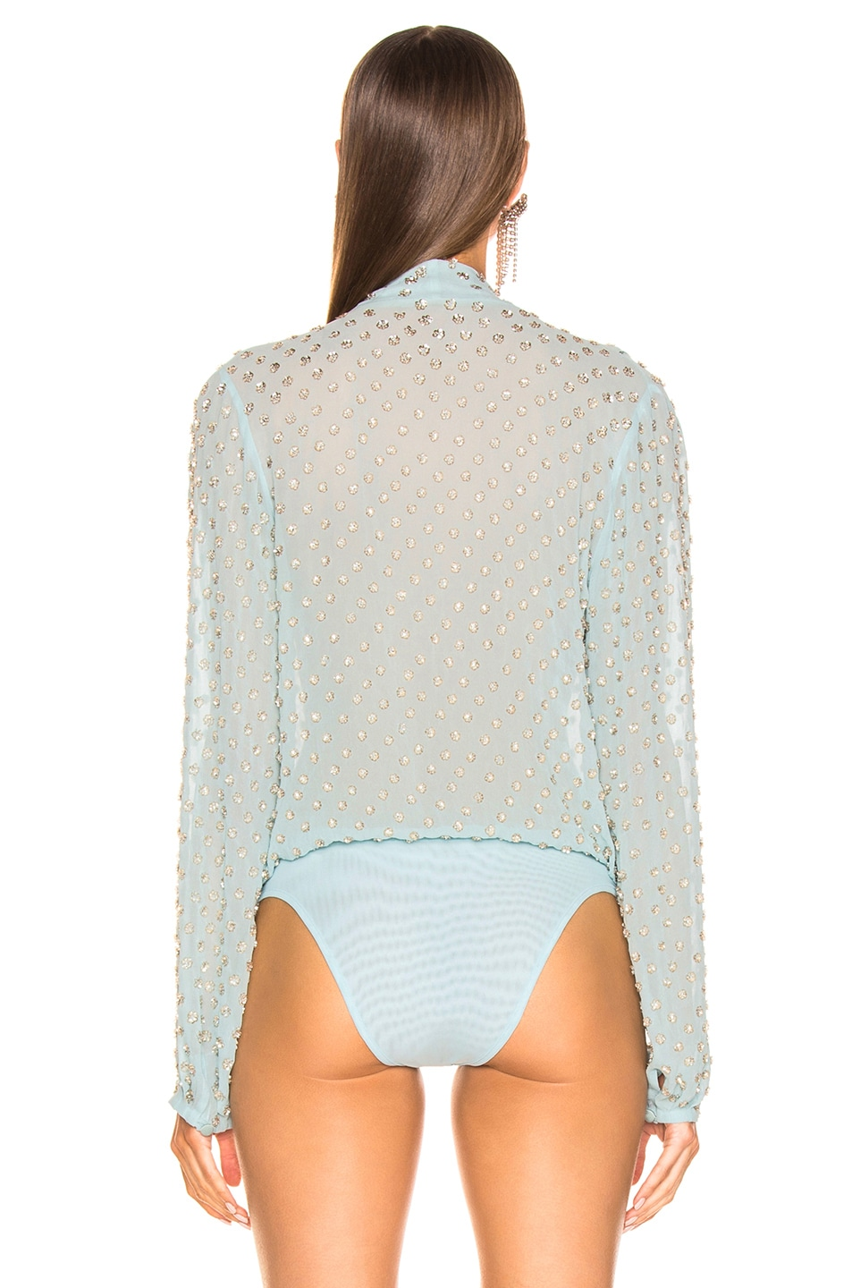 Image 4 of RAISA&VANESSA Embellished Wrap Bodysuit in Mint