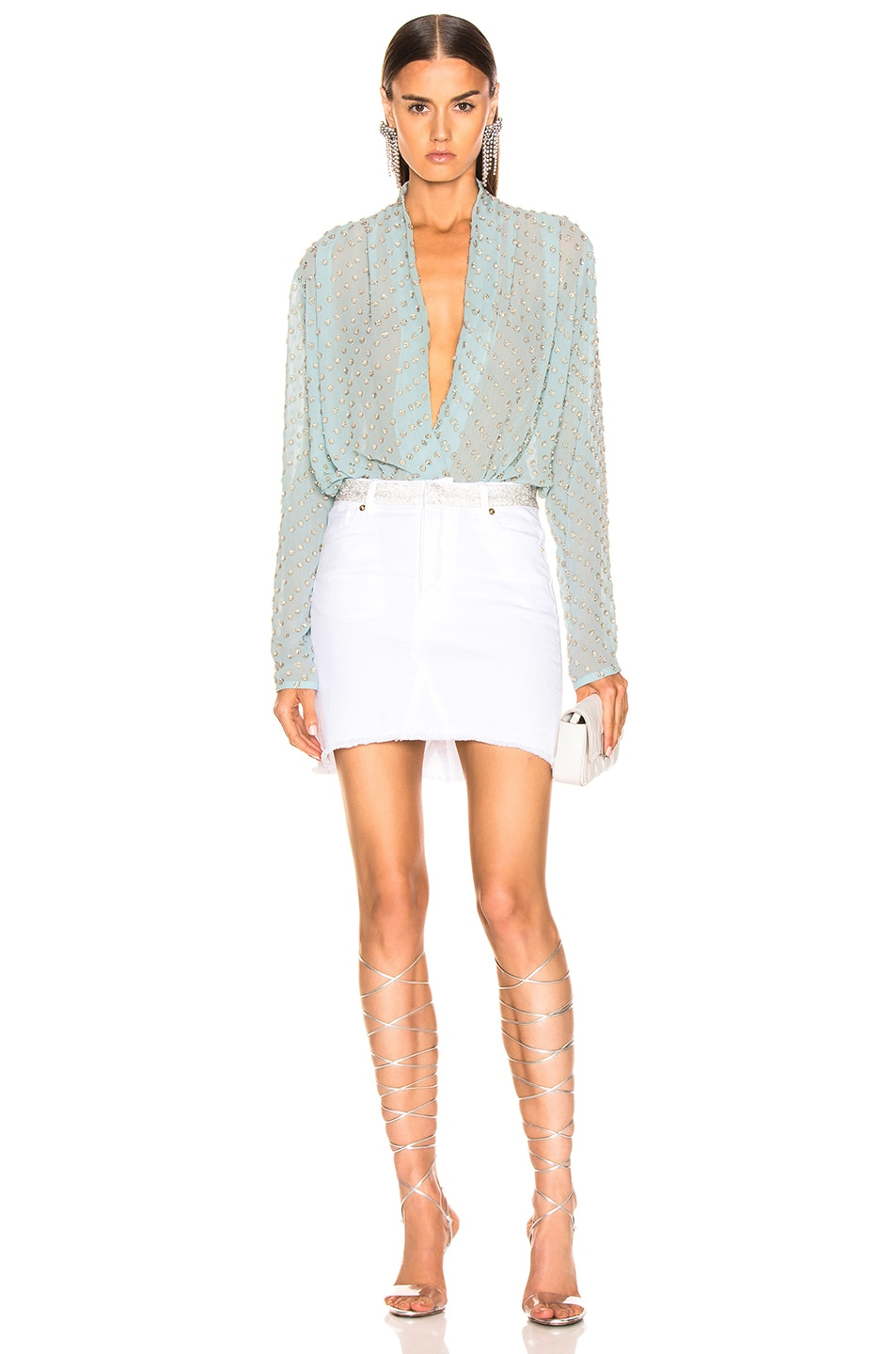 Image 5 of RAISA&VANESSA Embellished Wrap Bodysuit in Mint