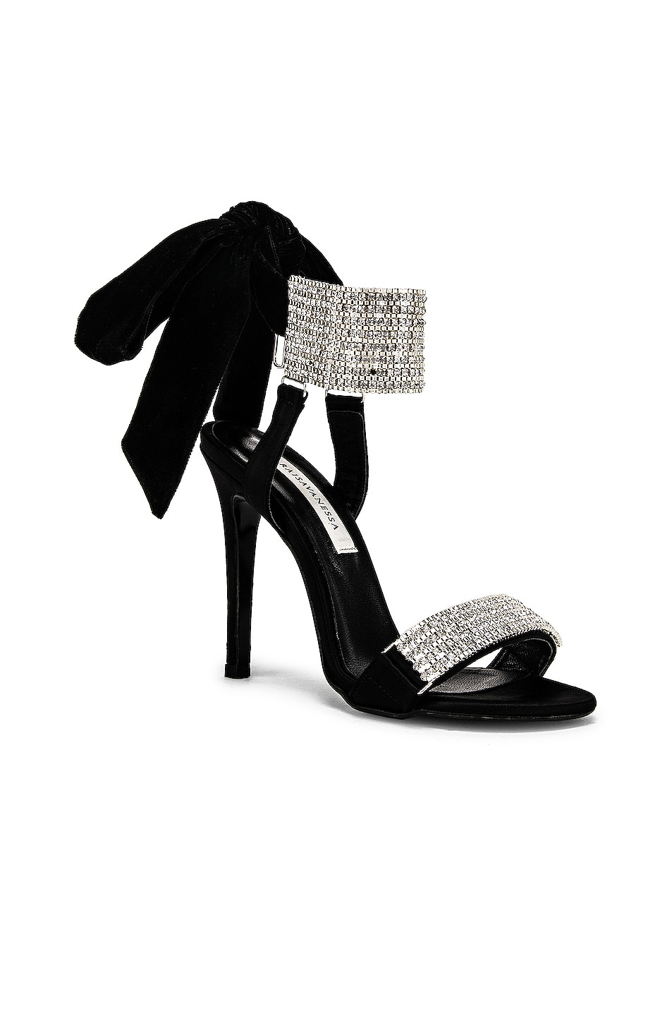 Image 2 of RAISA&VANESSA Embellished Bow High Heels in Black & Crystal