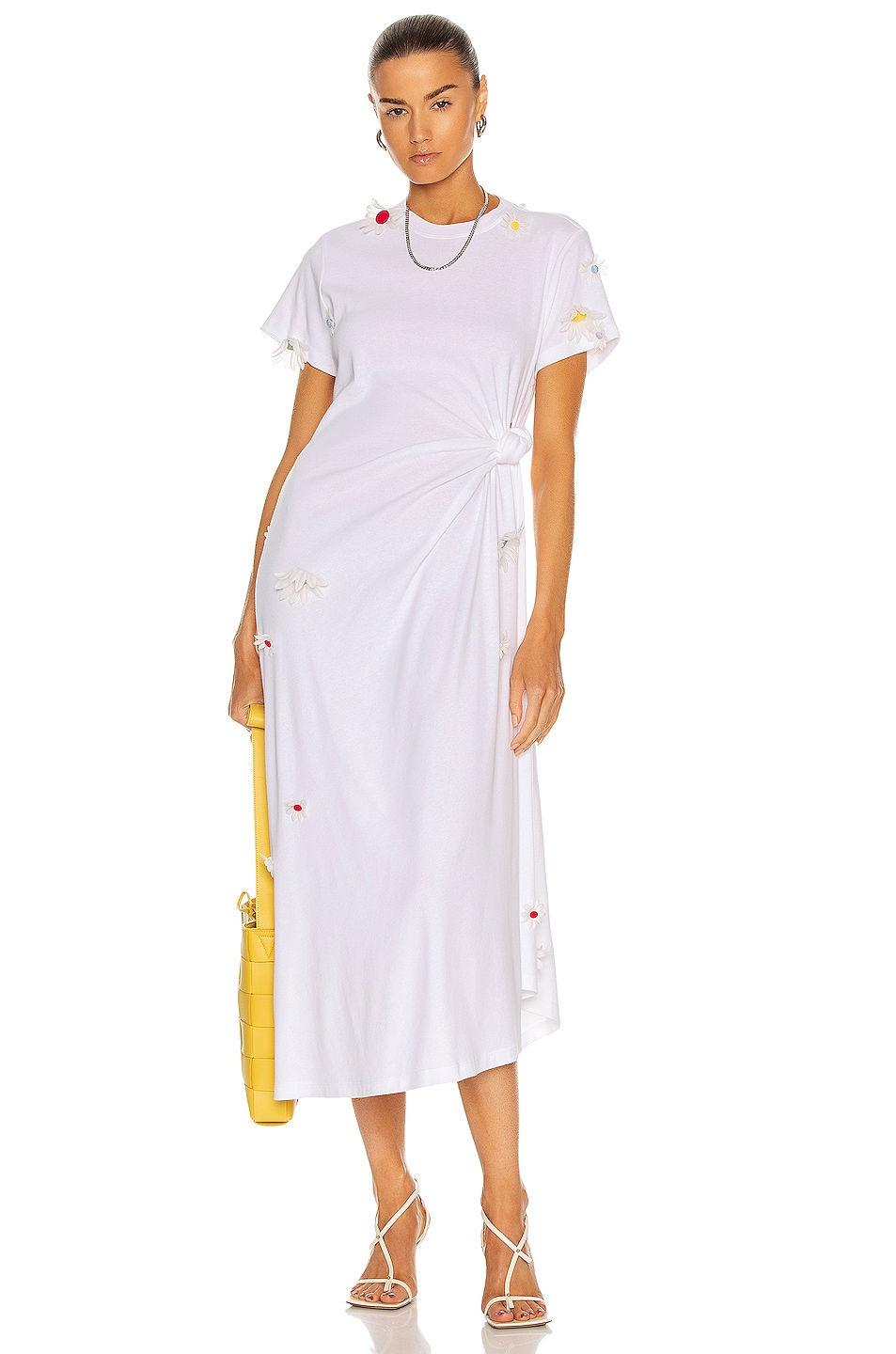Image 1 of Rosie Assoulin Knotted Tee Dress in White