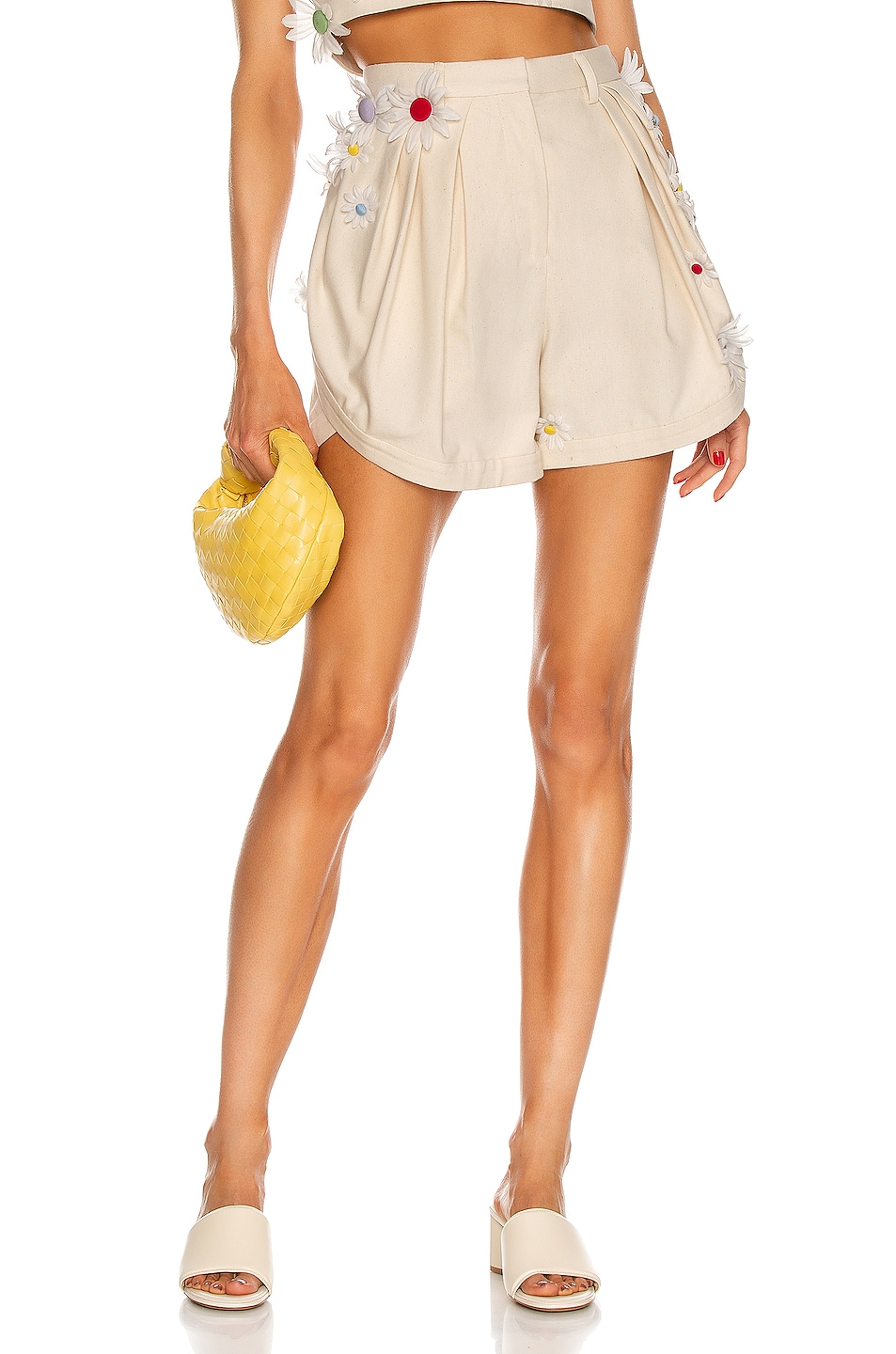 Image 1 of Rosie Assoulin Easy Pleated Asymmetrical Short in Sand