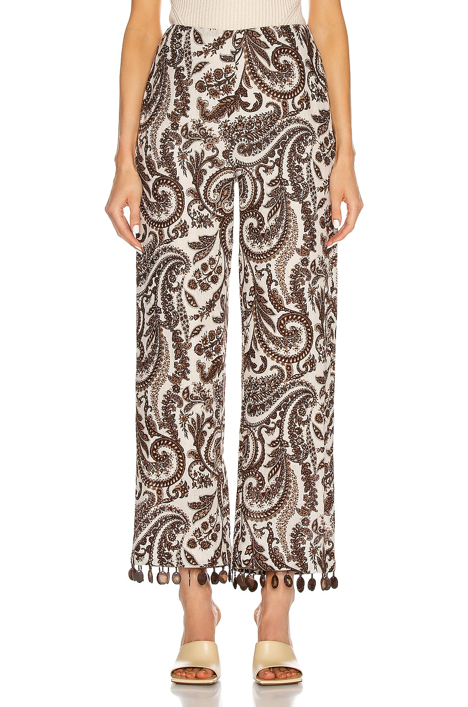 Image 1 of Rosie Assoulin Straight Pant in Brown & Natural