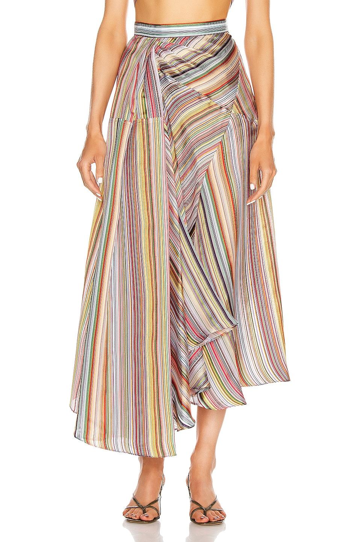 Image 1 of Rosie Assoulin Asymmetrical Volume Skirt in Rainbow