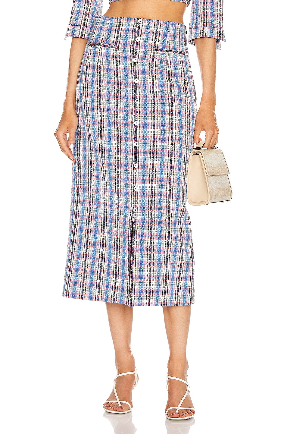 Image 1 of Rosie Assoulin Button Down Pencil Skirt in Blue Plaid