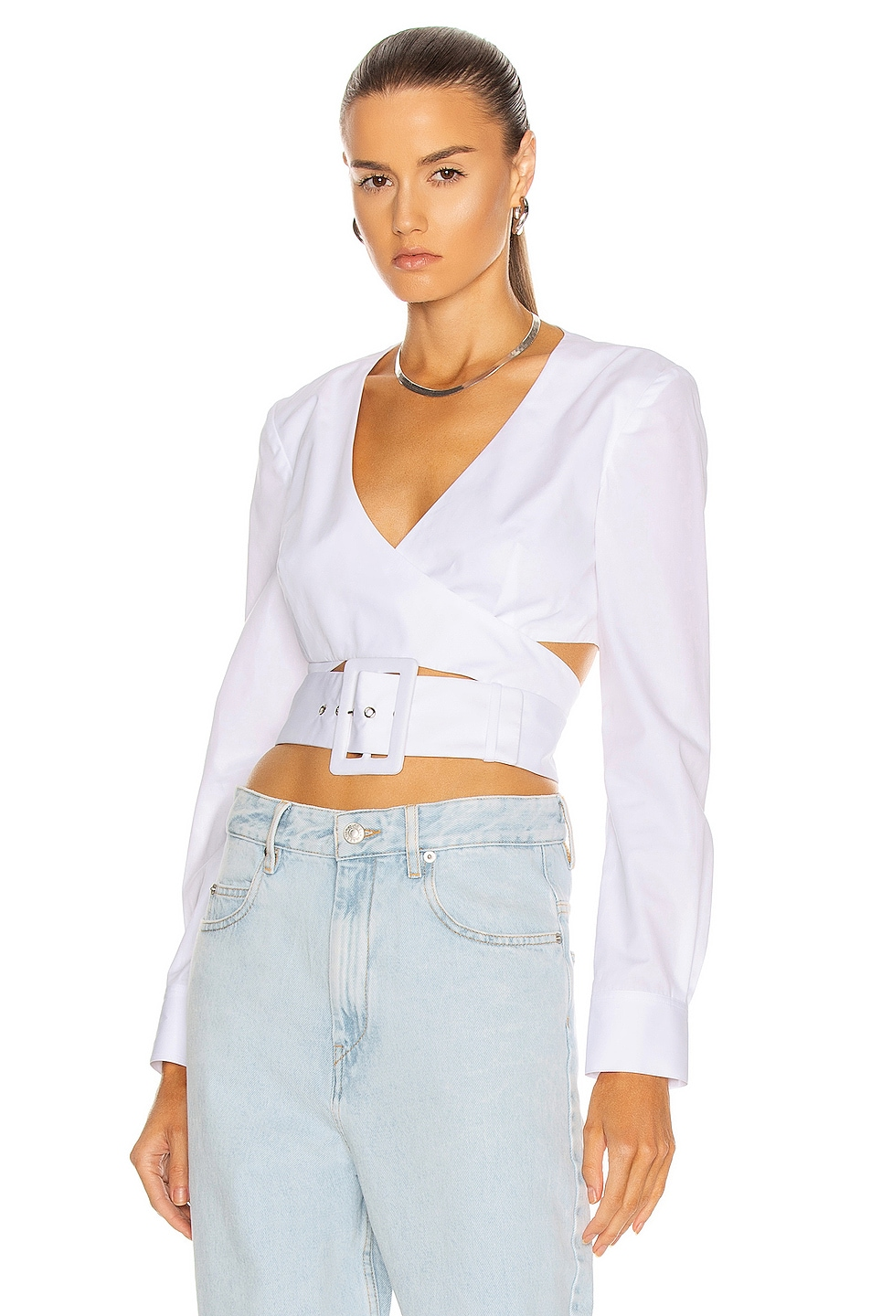 Image 1 of Rosie Assoulin Wrapped Belted Crop Top in White