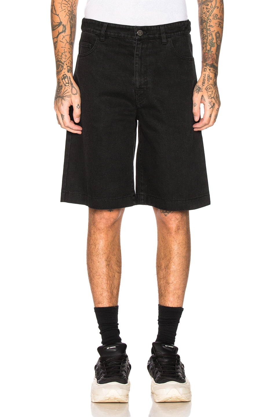 Image 1 of Raf Simons Chrome Patch & Paper Tag Shorts in Black
