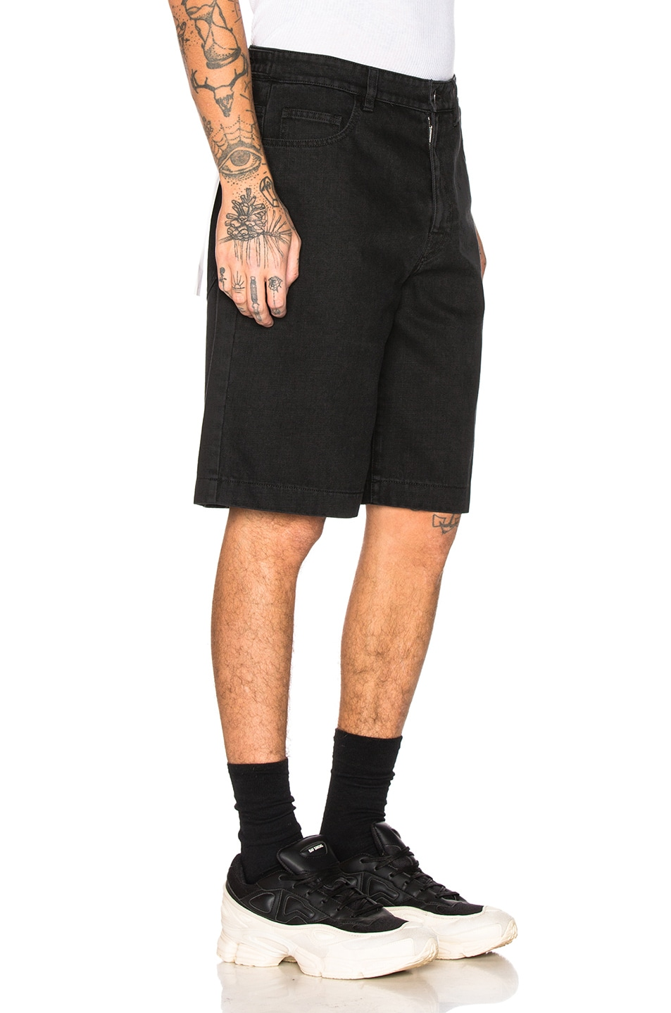 Image 2 of Raf Simons Chrome Patch & Paper Tag Shorts in Black