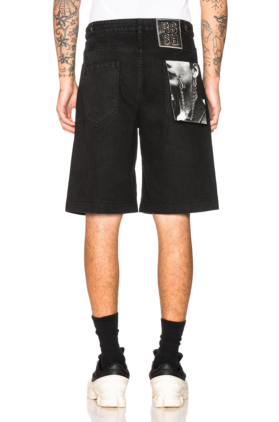 Image 3 of Raf Simons Chrome Patch & Paper Tag Shorts in Black