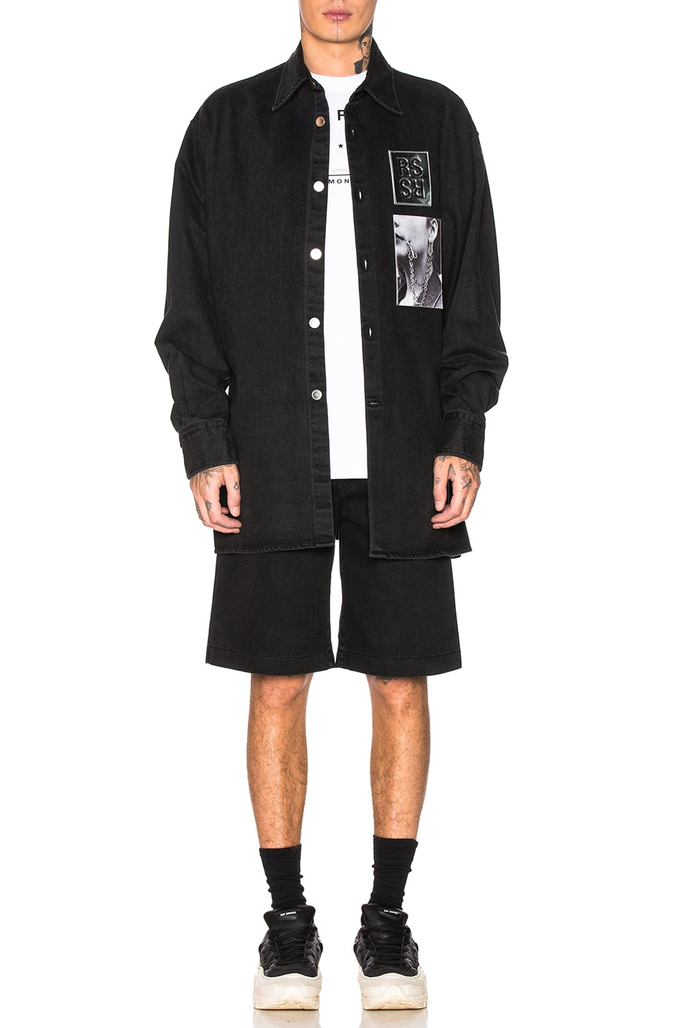 Image 4 of Raf Simons Chrome Patch & Paper Tag Shorts in Black