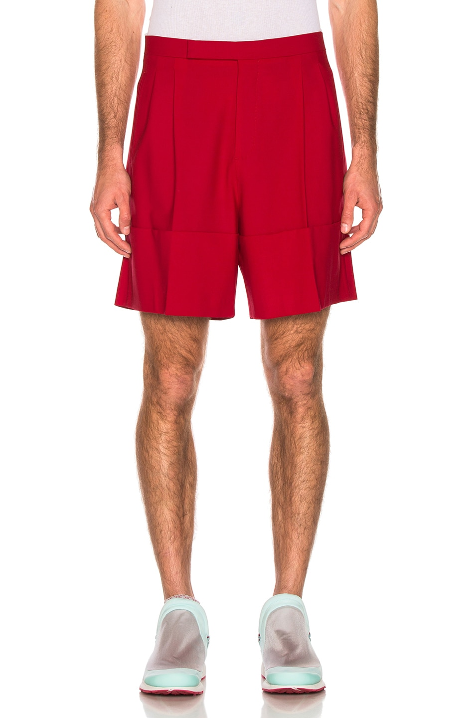Image 1 of Raf Simons Turn Ups Shorts in Red