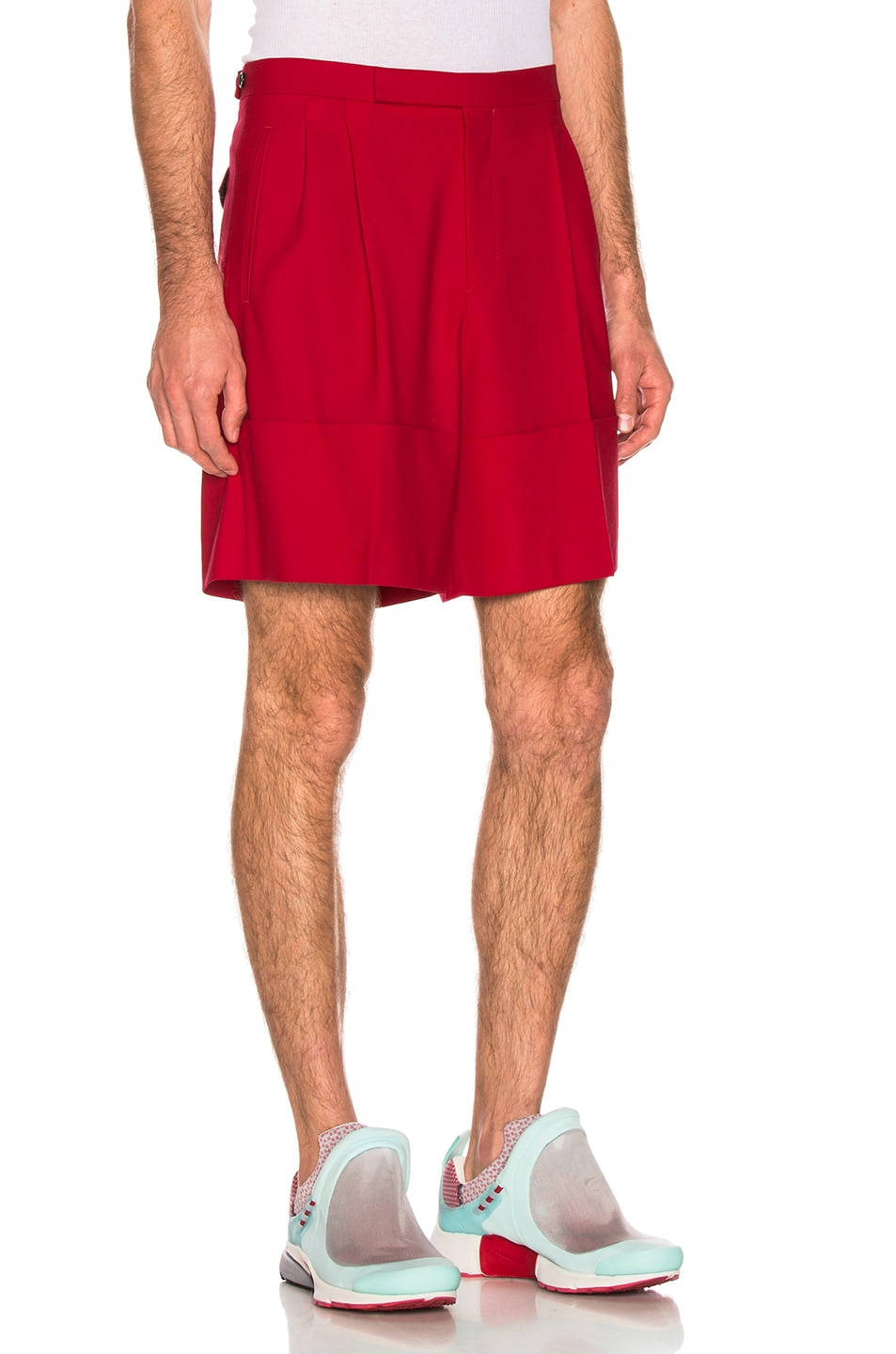 Image 2 of Raf Simons Turn Ups Shorts in Red