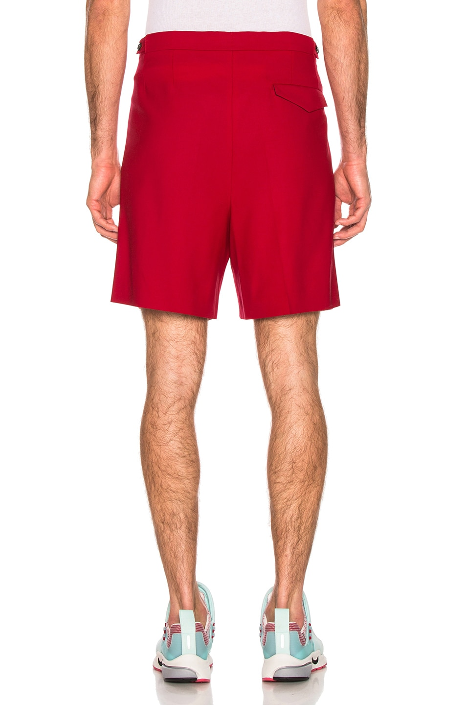 Image 3 of Raf Simons Turn Ups Shorts in Red