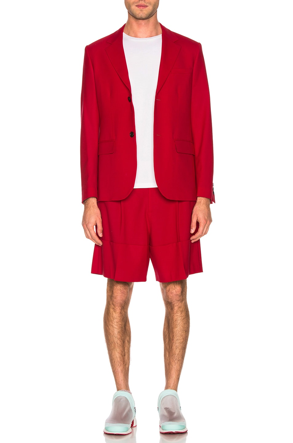 Image 4 of Raf Simons Turn Ups Shorts in Red