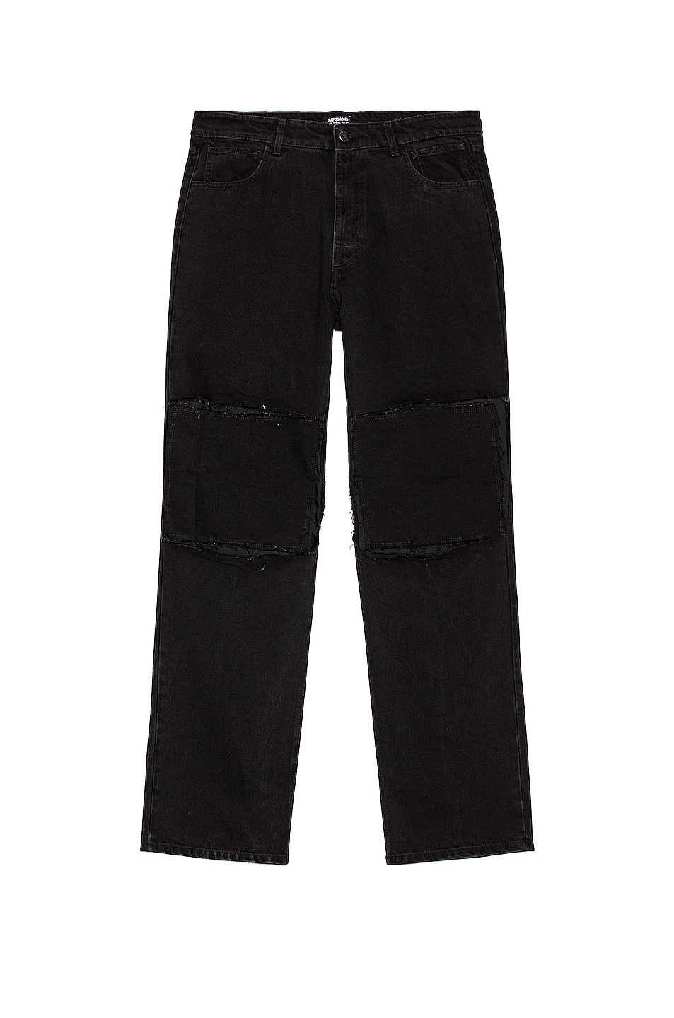 Image 1 of Raf Simons Relaxed Fit Denim Pants With Cut Out Knee Patches in Black