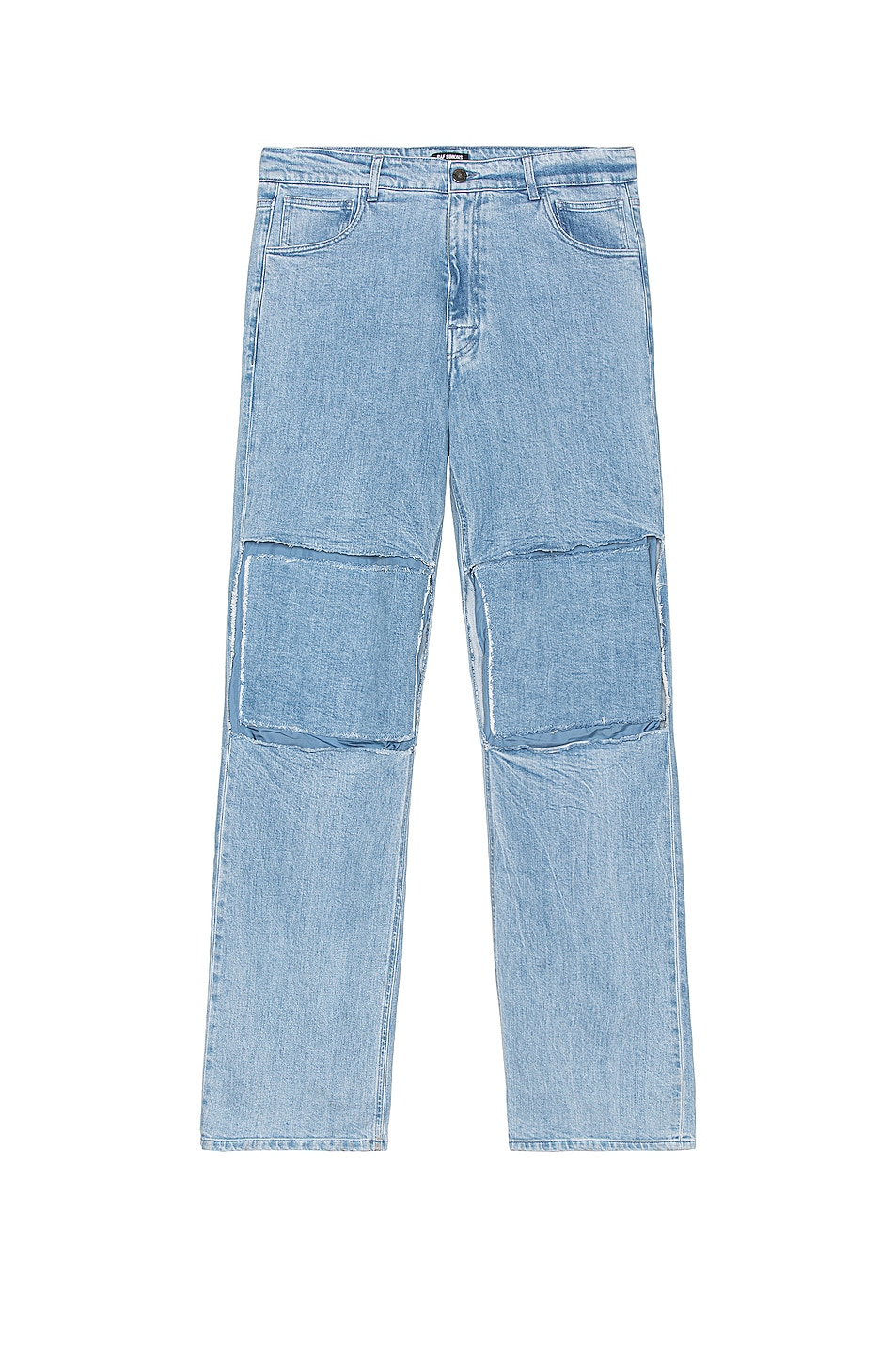 Image 1 of Raf Simons Relaxed Fit Denim Pants With Cut Out Knee Patches in Very Light Blue