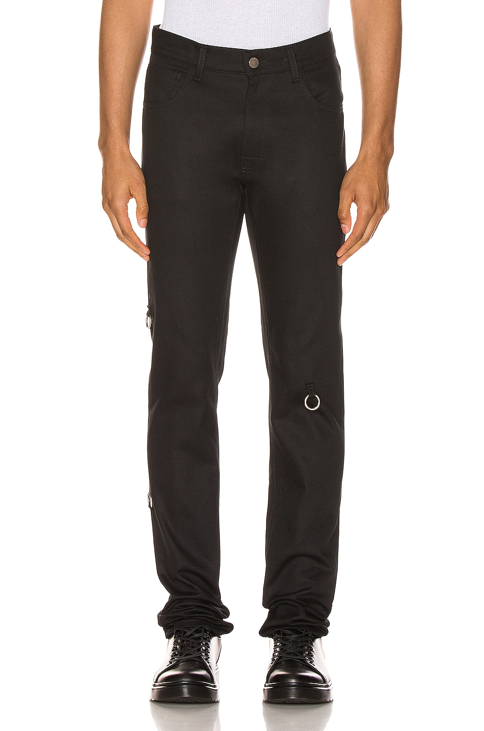 Image 1 of Raf Simons 4 Rings Denim Pants in Black