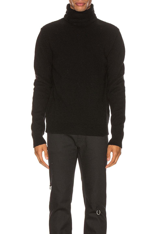 Image 1 of Raf Simons Turtleneck Knit Straps Sweater in Black