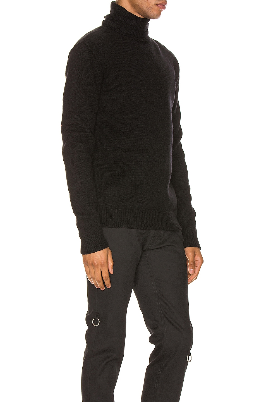 Image 2 of Raf Simons Turtleneck Knit Straps Sweater in Black