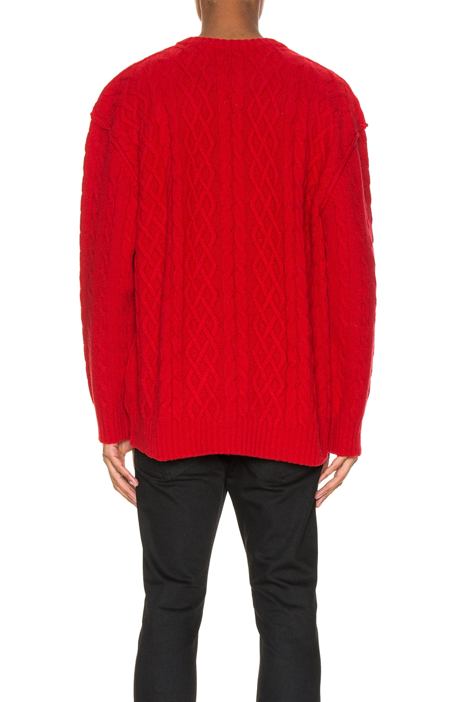 Image 3 of Raf Simons Printed Aran Knit Sweater in Red