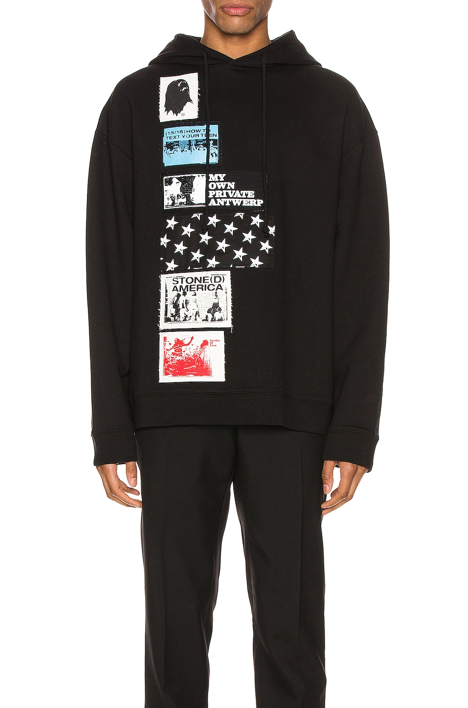 Image 1 of Raf Simons Patches Hoodie in Black