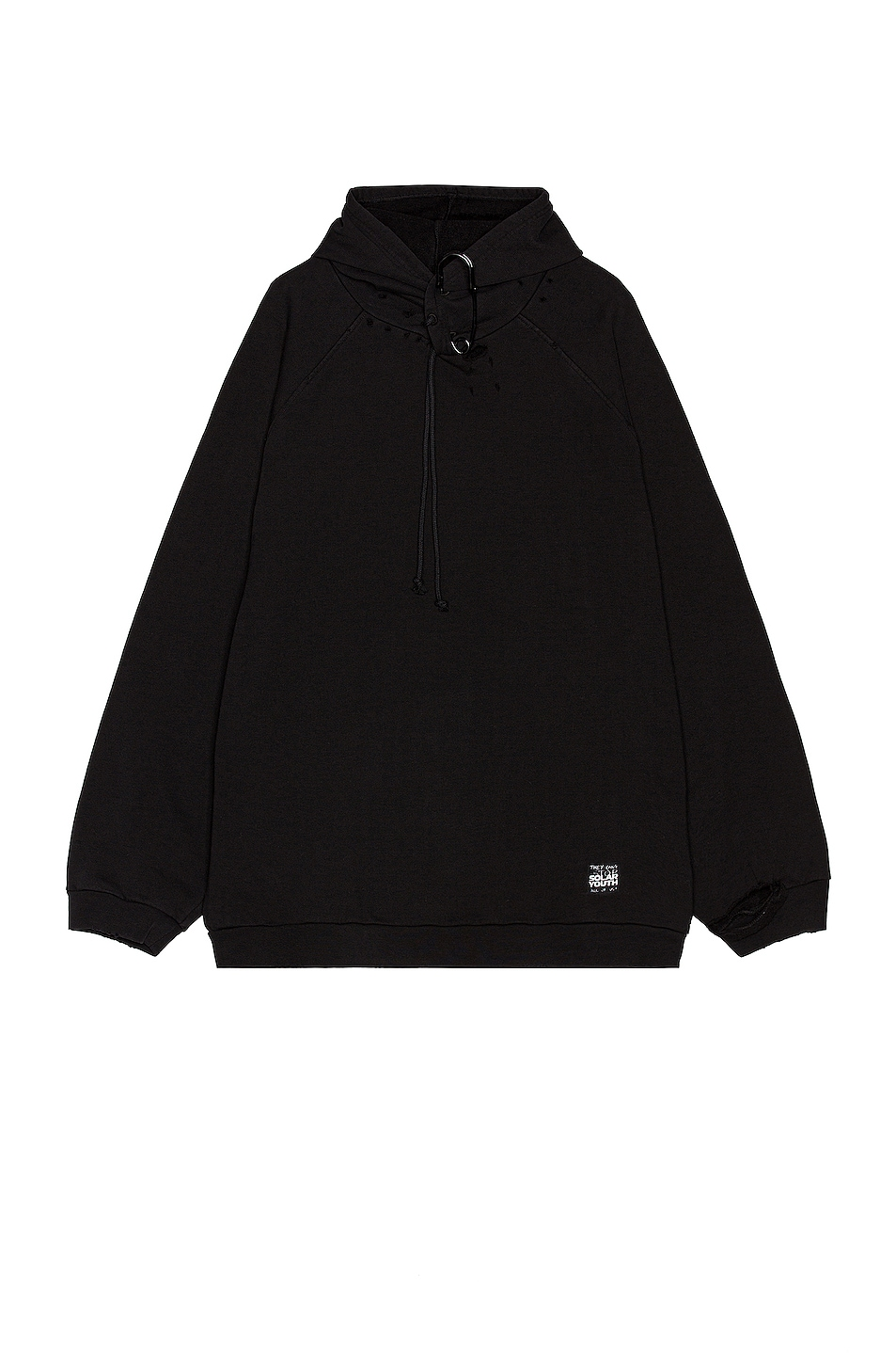 Image 1 of Raf Simons Destroyed Oversized Hoodie With Big Pin in Black