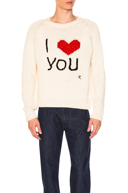 ebaab2dba7c2f Image 1 of Raf Simons I Love You Sweater in Off White