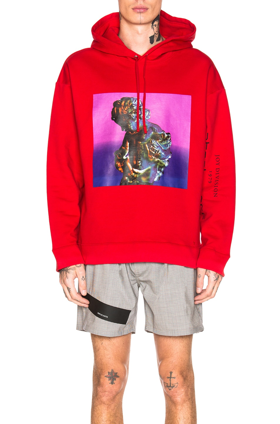 Image 1 of Raf Simons Classic Graphic Hoodie in Red