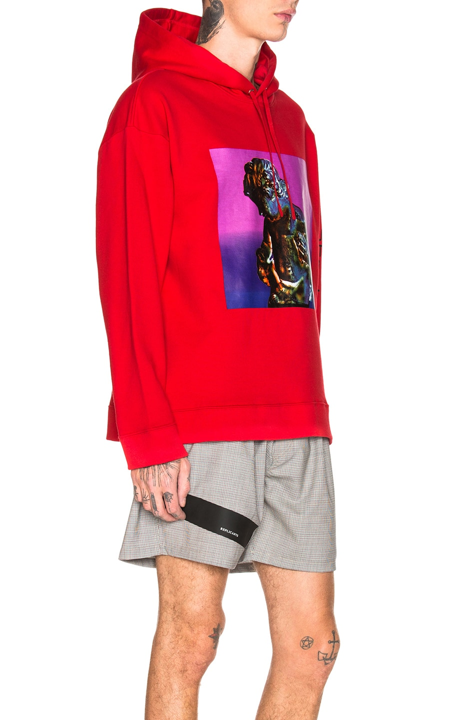 Image 2 of Raf Simons Classic Graphic Hoodie in Red