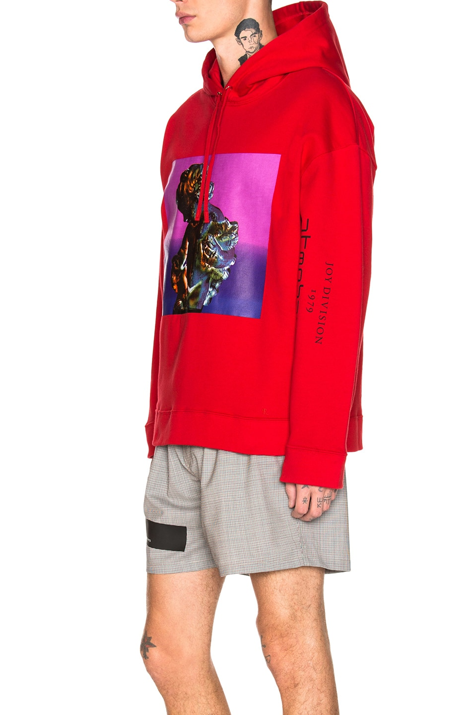 Image 3 of Raf Simons Classic Graphic Hoodie in Red