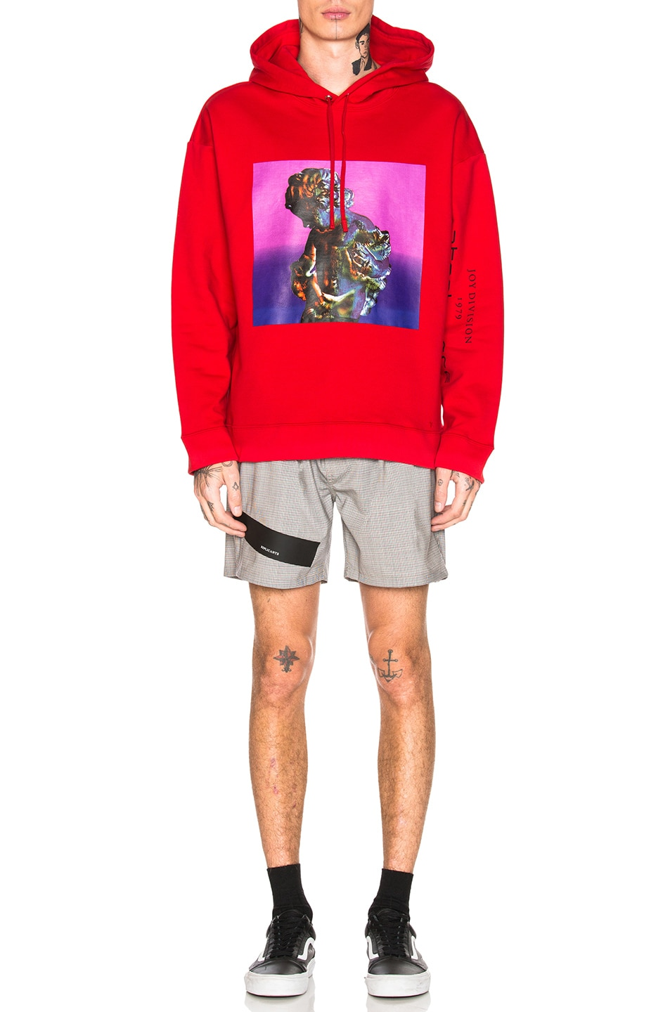 Image 5 of Raf Simons Classic Graphic Hoodie in Red