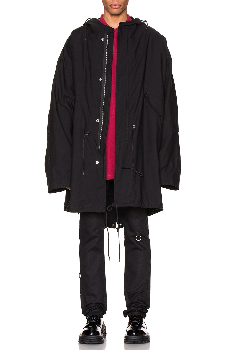 Image 2 of Raf Simons Mid Length Parka in Black