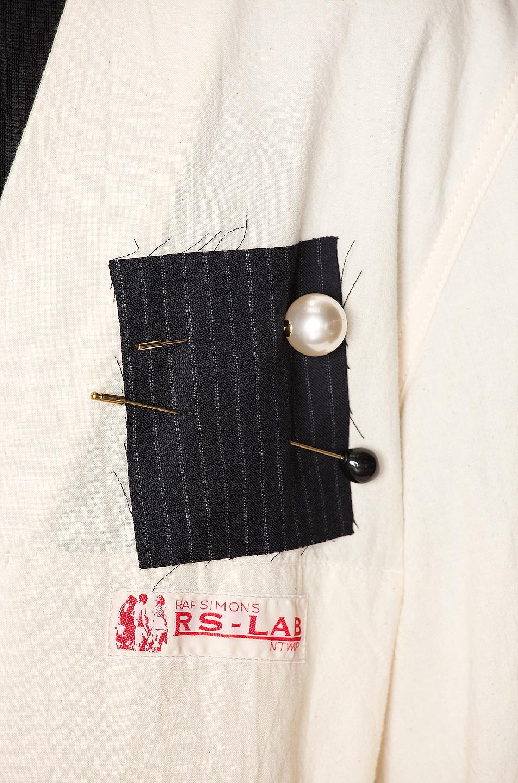 Image 7 of Raf Simons Raglan Labo Coat in Ecru